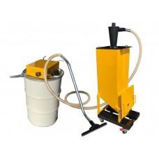 Sandblasting abrasive recovery vacuum system with Vactank110/Cyclone 100 cfm